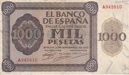 BILLETE DE ESPAÑA DE 1000 PTAS DEL AÑO 1936 DE BURGOS SERIE A EN BUENA CALIDAD  (DIFÍCIL Y RARO) - [ 3] 1936-1975: Franco