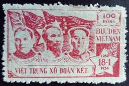 Viet Nam Du Nord North Viet-Nam 1954 Ho Chi Minh Mao Malenkov Yvert 75 Neuf Sans Gomme Unused Without Gum - Vietnam