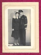 Grande PHOTO N. MANDEL à PARIS 6e...MARIAGE..COUPLE, FEMME, MILITAIRE COMMANDO De MARINE..HOUECOURT (88) 1949...2 Scans - Krieg, Militär