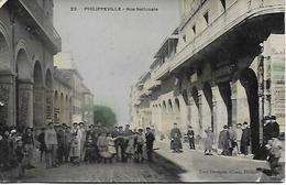 ALGERIE - SKIKDA - PHILIPPEVILLE - RUE NATIONALE TRES ANIMEE POSTEE EN 1910 EDIT TONY DEVIEGUE PLAN TRES PEU COURANT - Skikda (Philippeville)