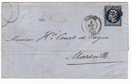 Lettre 1856 Nantes Loire Atlantique Marseille Bouches Du Rhône Honoré Court Payen - 1853-1860 Napoléon III