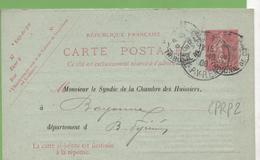 Entier Semeuse Lignée 10c Rose Type CPRP2 Paris-32 Tribunal De Commerce à Bayonne 9/10/08 - Ganzsachen