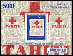 POLYNESIE 2015 - Yv. BF 43 (1094) **  - Timbre Sur Timbre. Croix-Rouge  ..Réf.POL25007 - Blocks & Kleinbögen