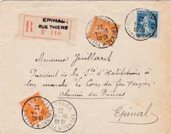 ESC De Epinal (88) Pour Epinal (88) - 28 Avril 1922 - Timbres Semeuse YT 140+141+158 - Recommandé - France