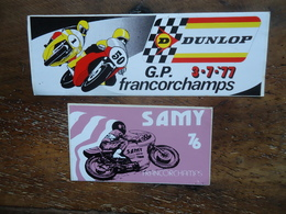 2 X Autocollant / Sticker  FRANCORCHAMPS MOTO ( G.P.)  1976 & 1977 - Stickers