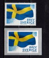2018 Sweden National Flag Of Sweden - Set Of 2 V Paper + S.adhesive MNH ** MiNr. 3234/ 3235 - Suède