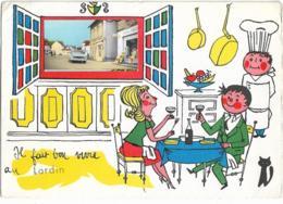 D24  - LARDIN - IL  FAIT BON VIVRE AU LARDIN - Carte Fantaisie Couple-Cuisinier-Chat-Fenêtre Cliché Simca Versailles - France