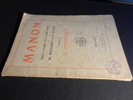 9) MANON MASSENET LIBRETTO D'OPERA EDIZIONE SONZOGNO - Opéra