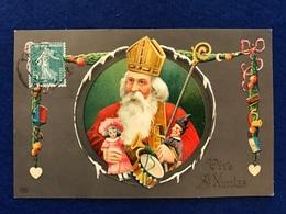 France - Vive St. Nicolas - St. Nikolaus - 03.12.1909  à Bruxelles - Carte Relief - Saint-Nicholas Day