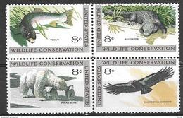 1971 8 Cents Wildlife, Block Of 4, Mint Never Hinged - Stati Uniti