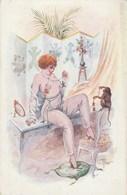 CPA Pin-up Femme Lady Glamour Sexy Women Girl Mode Erotisme Eros Singe Monkey Illustrateur PERAS N° 7 Série 68 (2 Scans) - Otros Ilustradores