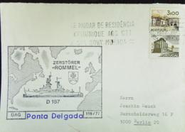 "NOR: Brief Aus Portugal Mit Zusatz-Stempel Zerstörer ""Rommel"" -Ponta Delgada- Nach Berlin - Variétés Et Curiosités"