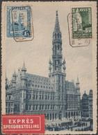 Belgique 1934 COB 292C, 1.75 F Hôtel De Ville De Bruxelles Sur Carte Maximum Ayant Réellement Voyagé Par Exprès - Maximum Cards