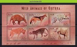Nff207 FAUNA ZOOGDIEREN OLIFANT HOND KAT JAKHALS ELEPHANT HYENA CAT AARDVARK JACKAL MAMMALS WILDLIFE ERITREA 2001 PF/MNH - Gibier