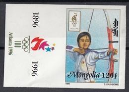 Mongolia 1996 Sc. 2242 Olimpiadi Atlanta Women's Archery Tiro Con L'arco Donne Imperf. Nuovo + Label - Tiro Con L'Arco