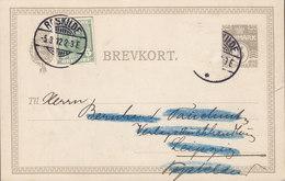 Denmark Uprated Postal Stationery Ganzsache W. Cutout From Stationery Brotype Ia ROSKILDE 1912 LEIPZIG Germany (2 Scans) - Interi Postali