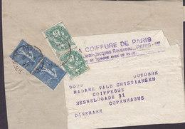 France LA COIFFURE DE PARIS 1927 Wrapper Bande Journal COPENHAGUE 2x Blanc 2x Semeuse Ligne - 1900-29 Blanc
