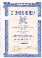 Titre Ancien - Cotonnière De Moen - Société Anonyme -Titre De 1952 - - Textiel