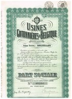Titre Ancien - Usines Cotonnières De Belgique - Société Anonyme -Titre De 1929 - - Textiel