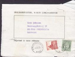 Norway SVALBARDPOSTEN, LONGYEARBYEN 1984 Wrapper Streifband Bande Journal FREDERICIA Denmark - Briefe U. Dokumente