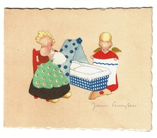 1946 - Faire-part De Naissance Illustré Par James Pennyless - Micheline  - 2 Scans - Geburt & Taufe