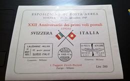 ERINNOFILI VIGNETTE CINDERELLA - ESPOSIZIONE POSTA AEREA STRESA 1947 PRIMI VOLI POSTALI SVIZZERA ITALIA - Erinnofilia