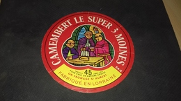 Etiquette De Fromage Camenbert Le Super 3 Moines - Cheese