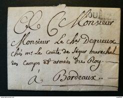 Charente Inférieure.Lettre Avec Marque SOUBIZE.Lenain N° 1- 1761-Pour Bordeaux - Storia Postale
