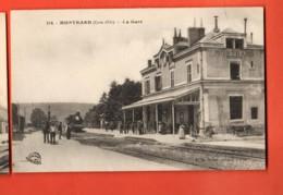 KAG-27 Montbard Cote-d'Or) La Gare, Très Animé. Train. Ecrite Par Un Militaire En 1918,circulée Sous Enveloppe - Gares - Avec Trains