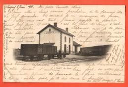 KAG-30 Lugny  La Gare. Wagon Marchandise.  La Gare. Précurseur, Circulé 1903 - Gares - Avec Trains