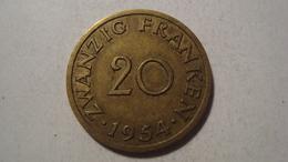 MONNAIE SARRE 20 FRANKEN 1954 - Sarre