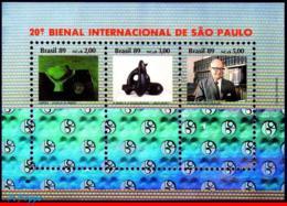 Ref. BR-2210 BRAZIL 1989 ART, 20TH INTL. ART BIENNIAL,, HOLOGRAM, MI# B80, S/S MNH 3V Sc# 2210 - Ungebraucht