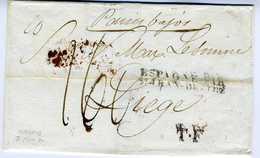 ESPAÑA    MADRID 1831    Hasta  LIEGE  Belgica    PRE15 - España