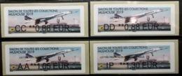 4 Atms, Brother, AA, CC, DD, IP, 50 Ans, De L'aventure Concorde, MULHOUSE 2019, SALON TOUTES COLLECTIONS - 2010-... Geïllustreerde Frankeervignetten