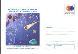 CHAUVE - SOURIS, Eclipse,Lune / Moon,Soleil   Entier Postal - Dessin D'enfant - Roumanie / Romania 1999 - Fledermäuse