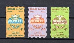 LIBYA :  10° Anniv. Unione Postale Araba  - 3 Val.  MNH**   Del  1.12.1964 - Libia