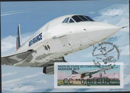 Atm, BROTHER, Carte MAXIMUM, CC 0;86€, 50 Ans De L'aventure Concorde, MULHOUSE, OBLITERE, 31/11/19 VELIZY-VILLACOUBLAY. - 2010-... Viñetas De Franqueo Illustradas