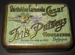 Boîte Publicitaire En Métal - Véritables Caramels César - FRITZ PUTZEYS Hougaerde / Hoegaarden - 3 Scans - Boîtes
