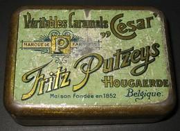 Boîte Publicitaire En Métal - Véritables Caramels César - FRITZ PUTZEYS Hougaerde / Hoegaarden - 3 Scans - Dosen