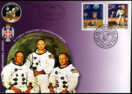 Bosnia Serbia 1999 Space Astronauts 30 Years Anniv. Of The First Moon Landing APOLLO 11 USA Armstrong Aldrin Collins FDC - Bosnie-Herzegovine