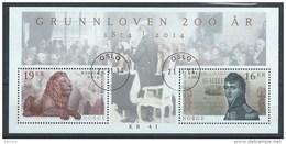 Norvège,  2014 Bloc Avec N°1803/1804 Bicentenaire De La Constitution Oblitéré - Blocks & Sheetlets