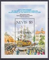 1987Nevis460/B16Ships With Sails - Overprint SPECIMEN - Ships
