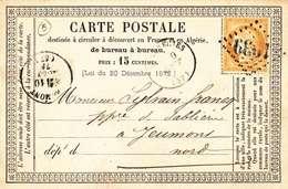 ♦ -   FRANCE: PRÉCURSEURS CARTE/ ENTIER POSTAL 1873 - LOSANGE 1939 - LANDRECIES POUR JEUMONT- RECTO/VERSO - Precursor Cards