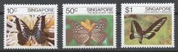Singapore 1982 Mi# 393-95** BUTTERFLIES - Singapur (1959-...)