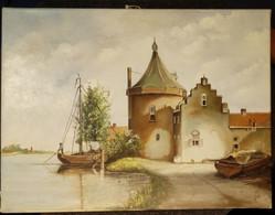 Oil Painting Castle At The River/ Olieverf Schilderij Kasteel Aan De Rivier - Olieverf