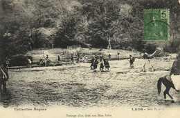 LAOS Passage D'un Gué Aux Hua Pah, + Beau Timbre 5c Indochine Francaise RV - Laos