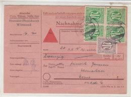 Nachnahmekarte Mit 3Pf Und 5Pf AM-Post (4) Deutscher Druck Aus WITTMUND 25.2.46 Nach Esens - Bizone
