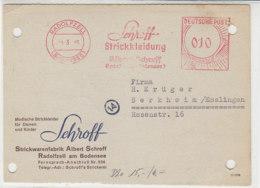 Freistempel Der Schroff Strickkleidung .. Aus RADOLFZELL 4.3.49 - [7] Repubblica Federale