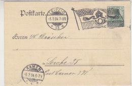 Karte Mit Flaggenstempel Aus LEIPZIG 13 A 5.7.04 Nach Serche 39 Post Camen (Kamen) I.W. - Briefe U. Dokumente
