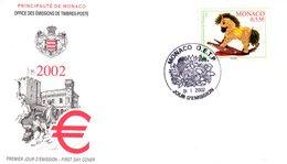 """"""" PONEY A BASCULE"""" Sur Enveloppe 1er Jour De MONACO De 2002. Parfait état. FDC - FDC"""